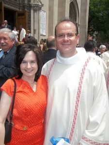 Deacon David and wife Karen on the steps of St. Paul Cathedral after the Ordination Mass