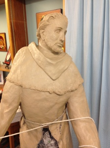 St. Rosaire's clay sculpture of St. Francis before completion