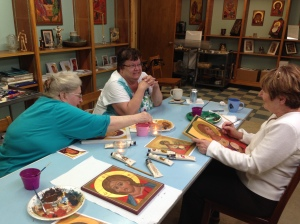 St. Rosaire with students in her icon class.